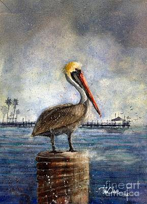 Rockport Wall Art - Painting - Rockport Pelican by Tim Oliver