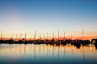 Rockport, Texas Harbor At Sunset Art Print