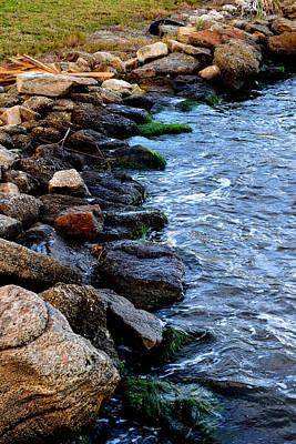 Rocks Along River Art Print by Victoria Clark