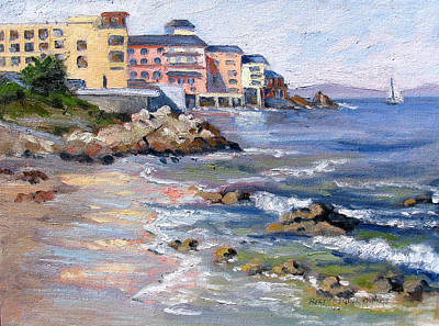 Monterey Wharf Painting - Rocks And Reflections by Rhett Regina Owings