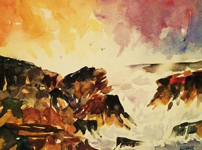 Painting - Rocks And Surf by Al Brown