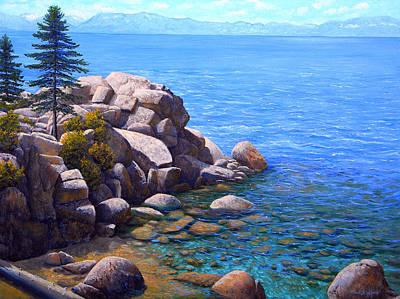 Painting - Rocks And Water Lake Tahoe by Frank Wilson