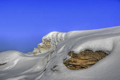 Rocks Covered With Snow Against Clear Blue Sky Art Print