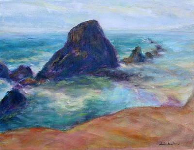 Painting - Rocks Heading North - Scenic Landscape Seascape Painting by Quin Sweetman