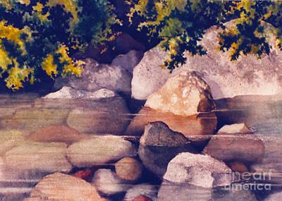 Tidal Creek Painting - Rocks In Stream by Teresa Ascone