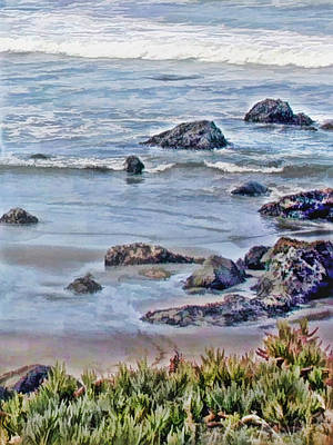 Sand Dunes Painting - Rocks In The Sand And Waves by Elaine Plesser