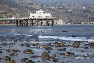 Photograph - Rocks In The Surf Malibu Beach Pier Seascape by Jerry Cowart
