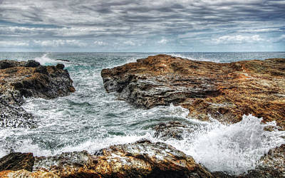 Rocks Ocean And Clouds Art Print by Kaye Menner