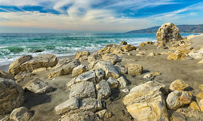 Walking In Tide Photograph - Rocks On Beach At Point Dume State Beach by Ken Wolter