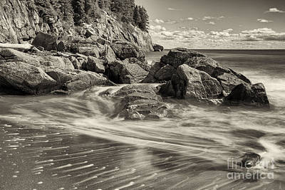 Photograph - Rocky Beach Motion Blur Waves by Nick Jene