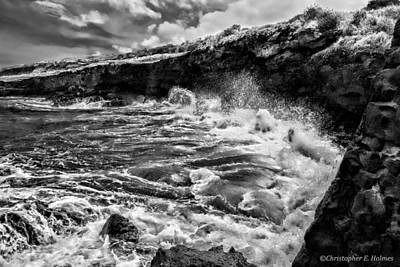 Photograph - Rocky Coast Bw by Christopher Holmes