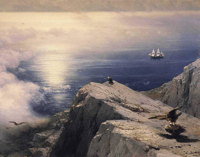 Vulture Digital Art - Rocky Coastal by Ivan Konstantinovich Aivazovsky