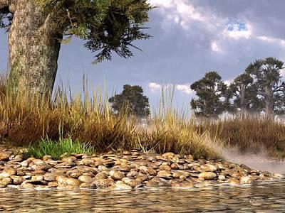 Landscapes Digital Art - Rocky Creek Landscape by Daniel Eskridge