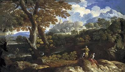 Rocky Landscape. 17th C. Work Art Print by Everett