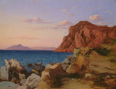 Sea View Painting - Rocky Landscape by Antal Ligeti