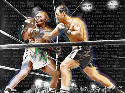 Painting - Rocky Marciano V Jersey Joe Walcott Quotes by Tony Rubino