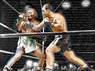 Sports Paintings - Rocky Marciano V Jersey Joe Walcott Quotes by Tony Rubino