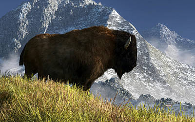 Mountains Digital Art - Rocky Mountain Buffalo by Daniel Eskridge