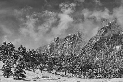Photograph - Rocky Mountain Dusting Of Snow Boulder Colorado Bw by James BO Insogna