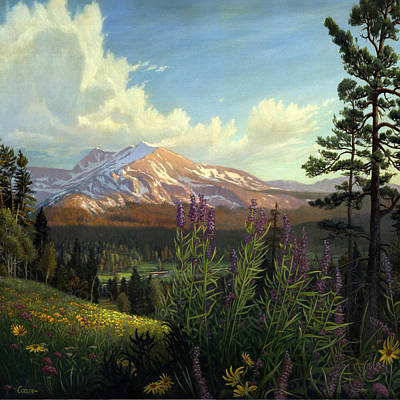 Colorado Mountain Stream Painting - Rocky Mountain Landscape Meadow In Spring Western Panorama With Wildflowers - Square Format by Walt Curlee