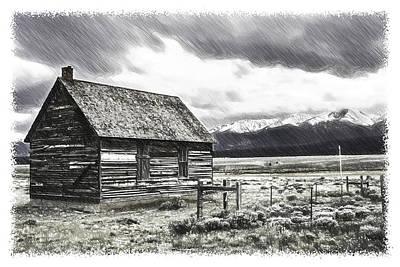 Colorado Rockies Drawing - Rocky Mountain Past by John Haldane