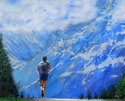 Sports Artist Painting - Rocky Mountain Run by Edward Pollick