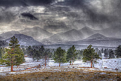 Photograph - Rocky Mountain Snow Storm Estes Park Colorado by Roger Passman