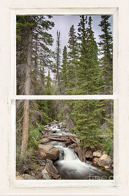 Rocky Mountain Stream View Through White Rustic Window Original