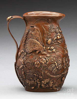 Sculpture - Rocky Mountain Summer Bronze Pitcher - French Brown Patina by Dawn Senior-Trask