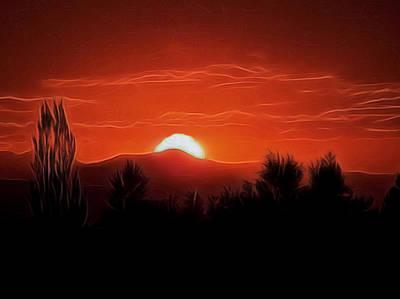 Rocky Digital Art - Rocky Mountain Sunset Digital Art by Ernie Echols