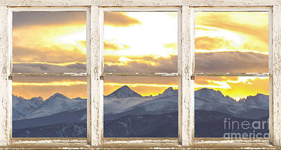 Photograph - Rocky Mountain Sunset White Rustic Farm House Window View by James BO  Insogna