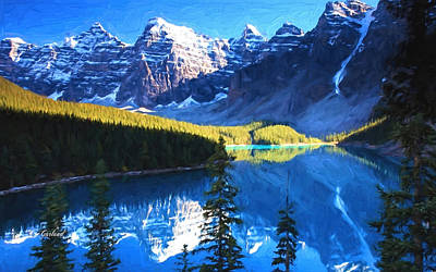 Rocky Mountains And Sky Blue Lake Art Print