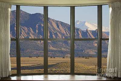 Window Photograph - Rocky Mountains Flatirons With Snow Longs Peak Bay Window View by James BO  Insogna