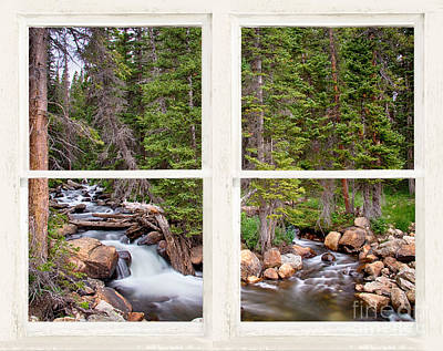 Rocky Mountains Forest Stream Rustic White Washed Window Original