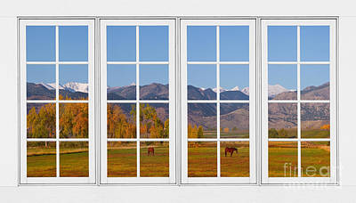 Corporate Art Photograph - Rocky Mountains Horses White Window Frame View by James BO  Insogna