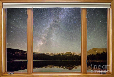 Rocky Mountains Milky Way Sky Classic Window View  Original