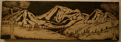 Pyrography On Wood Pyrography - Rocky Mountains by William Waters