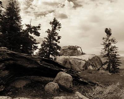 Photograph - Rocky Parapet Bw by Timothy Bulone