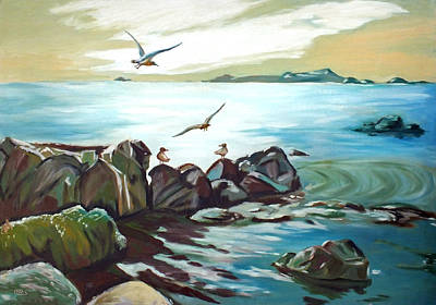 Painting - Rocky Seashore And Seagulls by Chris McCullough