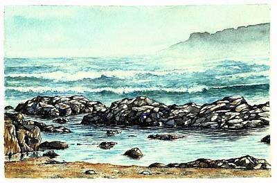 Art Print featuring the painting Rocky Seashore by Heidi Kriel