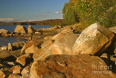 Rocky Shore At Sundown Art Print