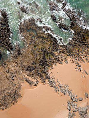 Kites Photograph - Rocky Shoreline Abstract Cape Woolamai by Rob Huntley