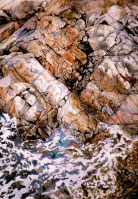 Painting -  Da215 Rocky Shoreline By Daniel Adams by Daniel Adams