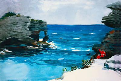 Tiller Digital Art - Rocky Shores Bermuda by Winslow Homer