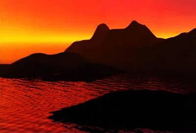 Art Print featuring the digital art Rocky Sunset by P Dwain Morris