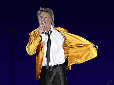 Digital Art - Rod Stewart In Concert by Nigel Follett