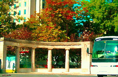 Roddick Gates Painting - Roddick Gates Mcgill Campus Sherbrook Street Bus Autumn Downtown Montreal City Scenes Carole Spandau by Carole Spandau