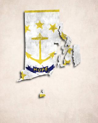 Rhode Island Map Digital Art - Rode Island Map Art With Flag Design by World Art Prints And Designs