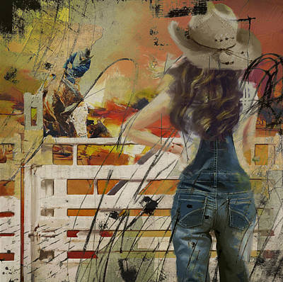 Sports Star Painting - Rodeo 003 by Corporate Art Task Force