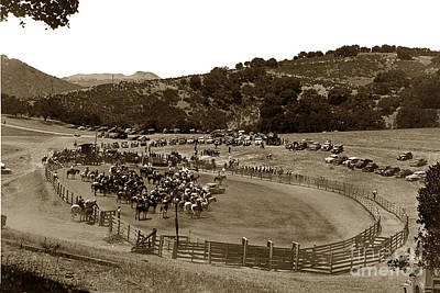 Photograph - Rodeo Arena At The Historic Holman Ranch In Carmel Valley Circa 1955 by California Views Mr Pat Hathaway Archives